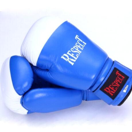 Bőr boxkesztyű   hagyományos tömésű   kék-fehér   Respect