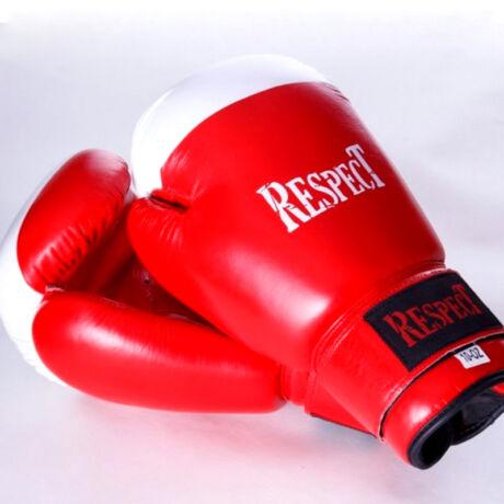 Bőr boxkesztyű   hagyományos tömésű   piros-fehér   Respect